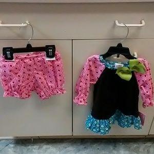 12M baby girl matching set & dress, 14M